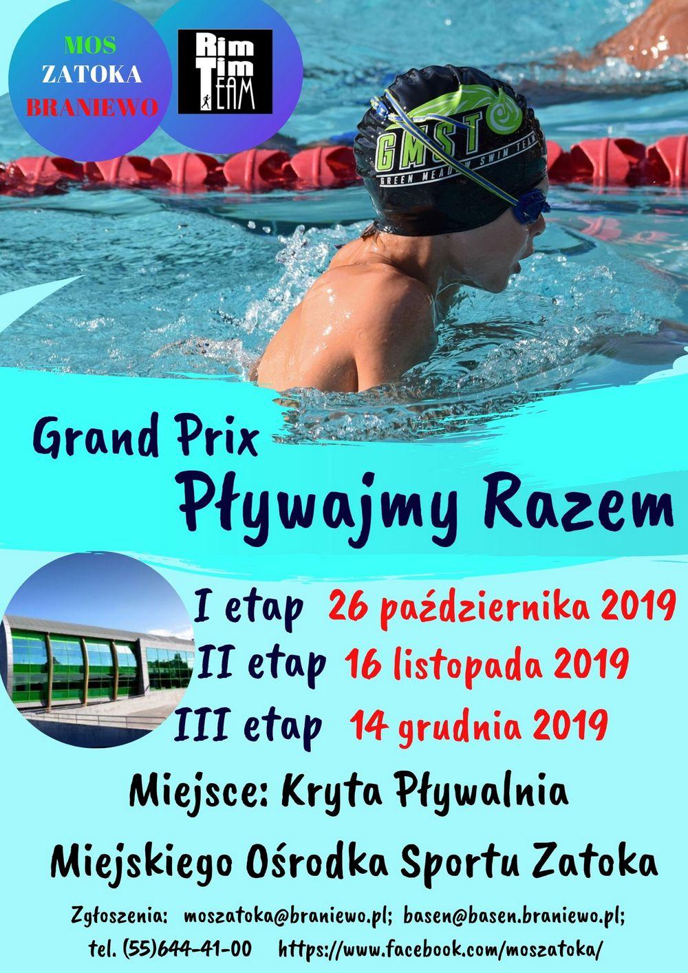 Grand Prix Pływajmy Razem, 1 etap 26 października 2019 r., 2 etap 16 listopada 2019 r., 3 etap 14 grudnia 2019 r., miejsce: Kryta Pływalnia Miejskiego Ośrodka Sportu Zatoka