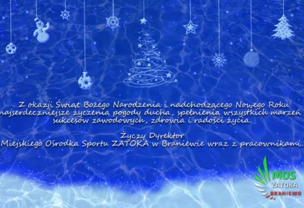 Z okazji Świąt Bożego Narodzenia i nadchodzącego Nowego Roku najserdeczniejsze życzenia pogody ducha, spełnienia wszystkich marzeń, sukcesów zawodowych, zdrowia i radości życia. Życzy Dyrektor Miejskiego Ośrodka Sportu ZATOKA w Braniewie wraz z pracownikami.