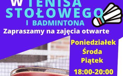 """3 czerwca 2020 Zapraszamy na zajęcia otwarte """"Graj w tenisa stołowego i badmintona"""" Poniedziałek, Środa, Piątek 18:00 - 20:00 Info: https://www.facebook.com/moszatoka/, sport@mos.braniewo.pl, tel. 55 230 44 66"""