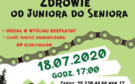 2 edycja Wyścig po zdrowie od Juniora do Seniora - udział w wyścigu bezpłatny, ilość miejsc ograniczona - 60 uczestników; 18.07.2020 godz. 17:00 zapisy: 55 230 44 66 wew. 17. Stadion miejski
