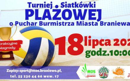 Turniej Siatkówki Plażowej o Puchar Burmistrza Miasta Braniewa 18 lipca 2020 godz. 10:00