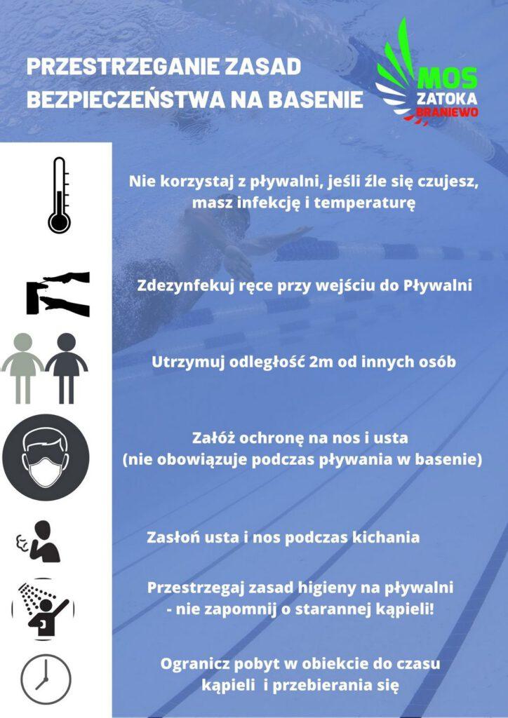 Nie korzystaj z pływalni, jeśli źle się czujesz, masz infekcję i temperaturę Zdezynfekuj ręce przy wejściu do Pływalni Utrzymuj odległość 2m od innych osób Załóż ochronę na nos i usta (nie obowiązuje podczas pływania w basenie) Zasłoń usta i nos podczas kichania Przestrzegaj zasad higieny na pływalni - nie zapomnij o starannej kąpieli! Ogranicz pobyt w obiekcie do czasu kąpieli i przebierania się
