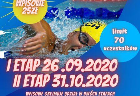 Pływajmy Razem, wpisowe 25 zł, limit 70 uczestników, I etap 26.09.2020, II etap 31.10.2020, wpisowe obejmuje udział w dwóch etapach, zapisy: sport@mos.braniewo.pl lub 55 230 44 66 wew. 17