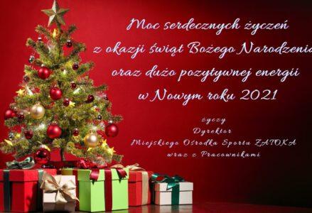 """Moc serdecznych życzeń z okazji Świąt Bożego Narodzenia oraz dużo pozytywnej energii w Nowym roku 2021 życzy Dyrektor Miejskiego Ośrodka Sportu """"Zatoka"""" wraz z Pracownikami"""