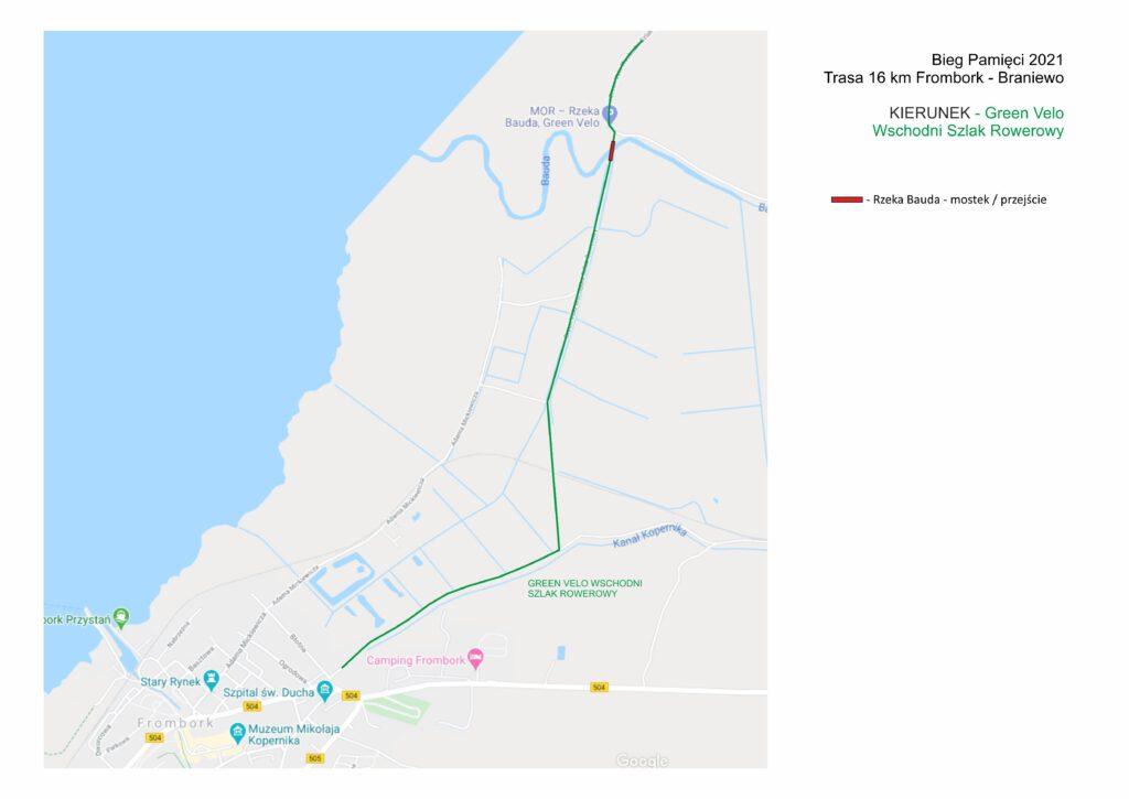 Bieg Pamięci 2021 Trasa 16 km Frombork - Braniewo KIERUNEK - Green Velo Wschodni Szlak Rowerowy