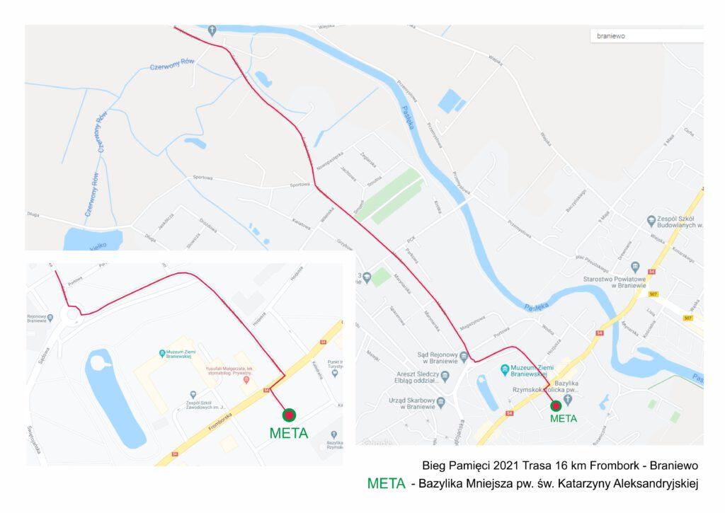 Bieg Pamięci 2021 Trasa 16 km Frombork - Braniewo META - Bazylika Mniejsza pw. św. Katarzyny Aleksandryjskiej